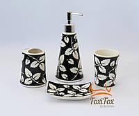 Керамический набор для ванной 4 предмета White Black