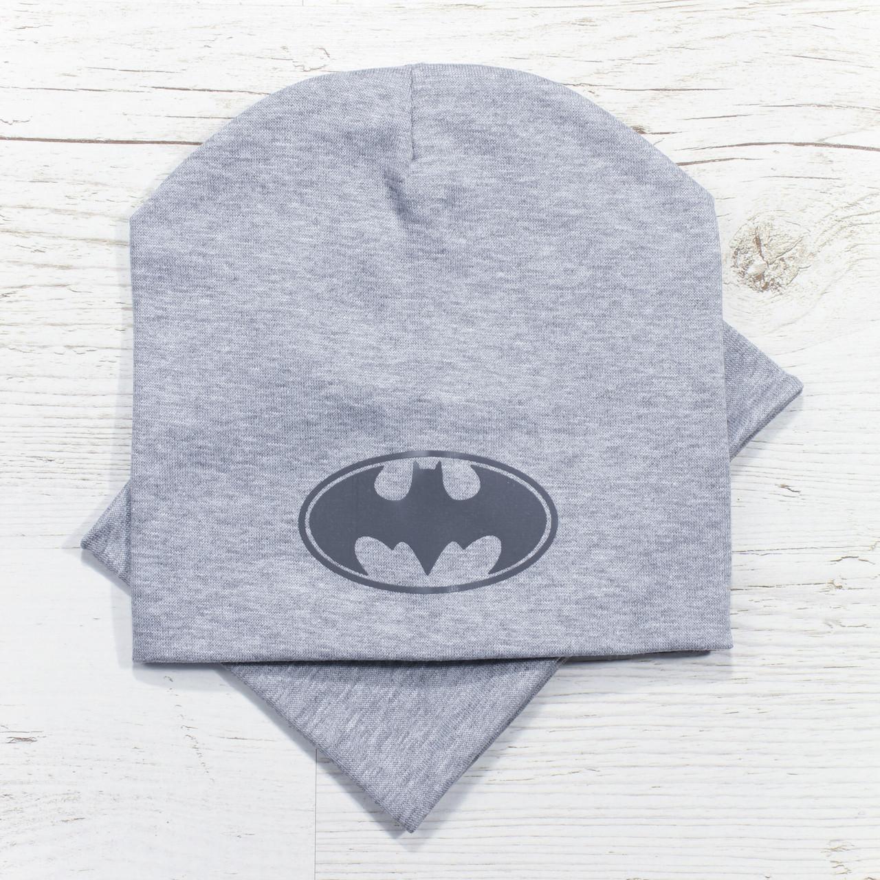 Демисезонная Batman Комплект шапка + баф серый меланж 48-52р.
