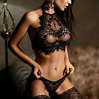Кружевной черный комплект женского нижнего белья