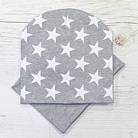 Детская трикотажная шапка комплект серый меланж 48-52р.