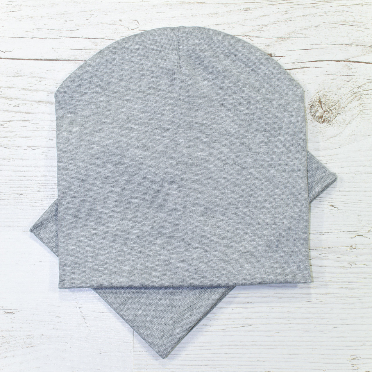 Шапка трикотажная детская двойная комплект серый меланж 48-52р.