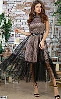 Платье с пышной юбкой женское красивое вечернее шелк армани/сетка 44-48 р.,цвет черный