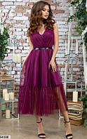 Платье с пышной юбкой женское красивое вечернее шелк армани/сетка 44-48 р.,цвет малиновый