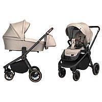 Универсальная детская коляска бежевая Carrello Epica 2 в 1 черная рама люлька прогулочный блок сумка дождевик