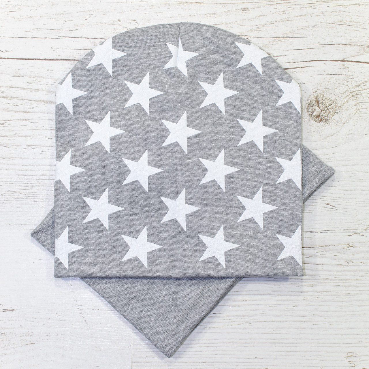 Весенняя детская трикотажная шапка комплект серый меланж 52-56р.