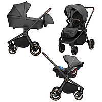 Детская коляска темно-серая 3в1 на черной раме автокресло дождевик Carrello Epica CRL-8511/1 Iron Grey