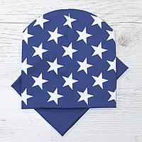 Демисезонная двойная Звезды Комплект шапка + баф серый джинс 52-56р.
