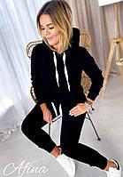 Женский удобный тёплый спортивный костюм в 2 цветах трёхнитка, фото 1