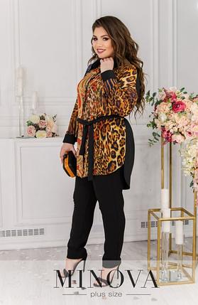 Женская шифоновая блуза с леопардовым принтом батал Minova Размеры: 50-52, 54-56, 58-60, 62-64, 66-68, фото 2