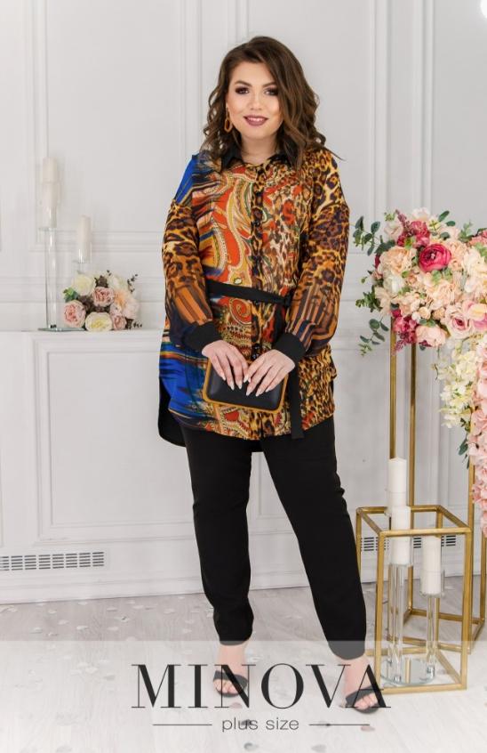 Женская шифоновая блуза с леопардовым принтом батал Minova Размеры: 50-52, 54-56, 58-60, 62-64, 66-68