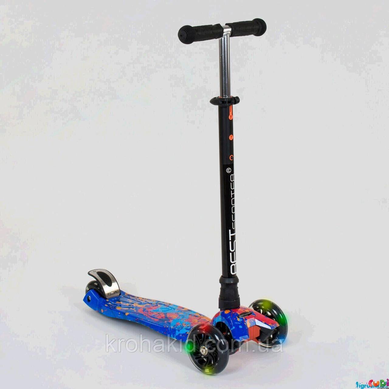 """Самокат-кикборд А 25595/779-1338 """"Best Scooter""""  4 колеса PU. СВЕТ, d=12см"""