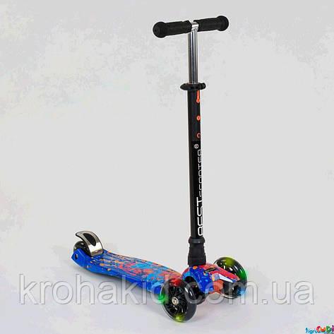 """Самокат-кикборд А 25595/779-1338 """"Best Scooter""""  4 колеса PU. СВЕТ, d=12см, фото 2"""