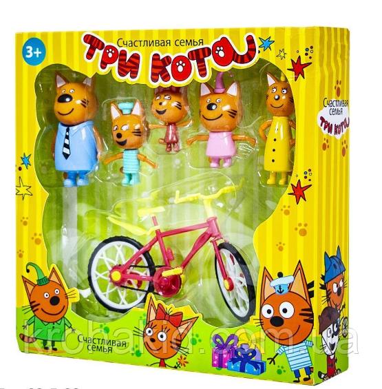 """Игровой набор """"Три кота"""" Семья  - 5 фигурок с велосипедом  / Три кота F116"""