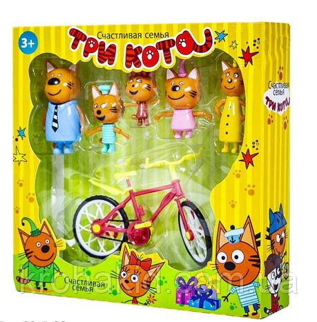 """Игровой набор """"Три кота"""" Семья  - 5 фигурок с велосипедом  / Три кота F116, фото 2"""