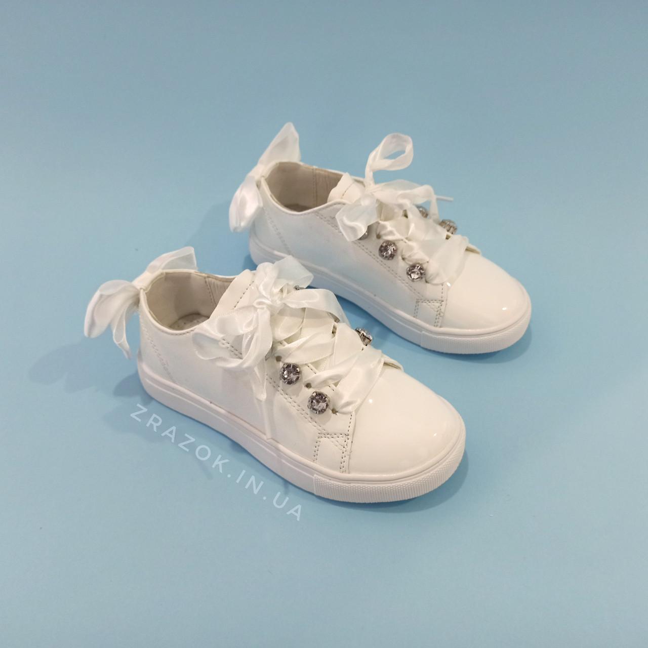 Белые кроссовки с бантиком кеды с бантом лаковые туфли с лентами с супинатором на девочку
