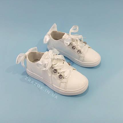 Белые кроссовки с бантиком кеды с бантом лаковые туфли с лентами с супинатором на девочку, фото 2