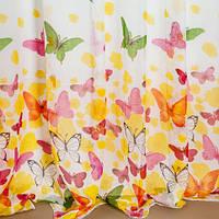 Гардина с бабочками тюль штора лен батист, под лен, имитация льна с принтом бабочки на метраж, льон метелики