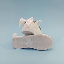 Белые кроссовки с бантиком кеды с бантом лаковые туфли с лентами с супинатором на девочку, фото 3