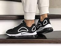 Женские кроссовки черные с белым Air Max 720 8935