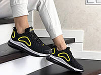Женские кроссовки черные с белым и желтым Air Max 720 8938