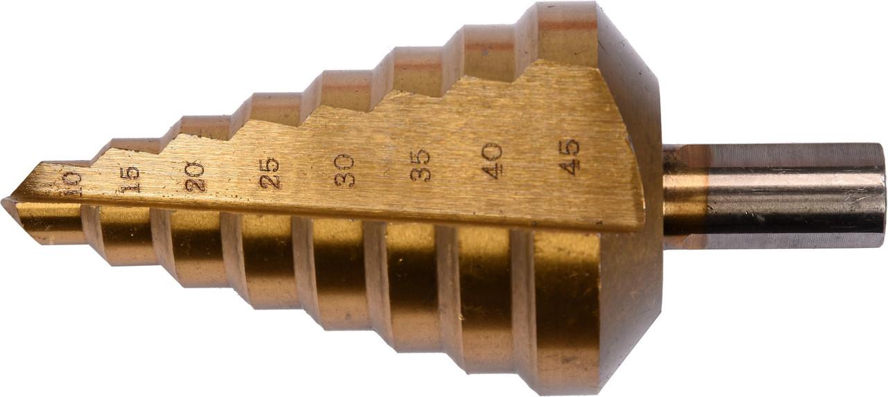 Сверло ступенчатое по металлу с титановым покрытием HSS-TiN 10-45 мм YATO YT-44742