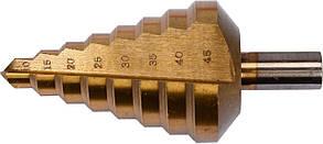 Сверло ступенчатое по металлу с титановым покрытием HSS-TiN 10-45 мм YATO YT-44742, фото 2