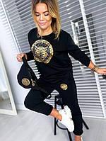 Женский удобный чёрный спортивный костюм с принтом размеры 42 -54, фото 1