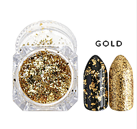Хлопья Юки золото для ногтей