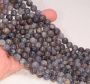10 мм Иолит, Натуральный камень, Форма: Шар, Отверстие: 1 мм, кол-во: 38-40 шт/нить, фото 2