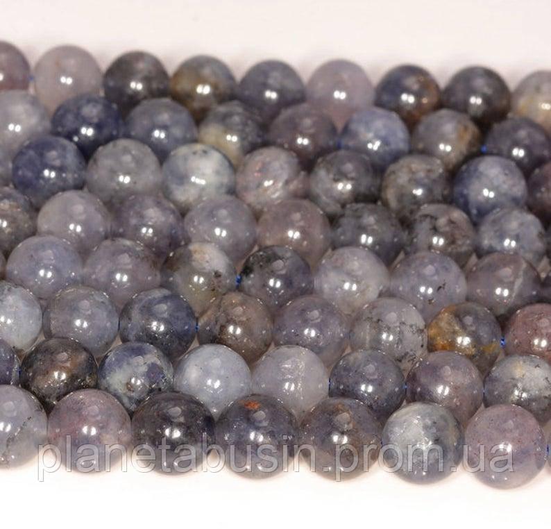 10 мм Иолит, Натуральный камень, Форма: Шар, Отверстие: 1 мм, кол-во: 38-40 шт/нить