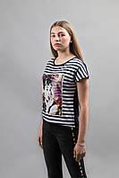 Женские футболки полоска с принтом, фото 1