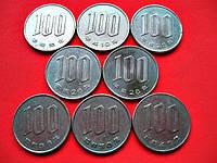 Монеты 100 йен Японии, 2 доллара Австралии