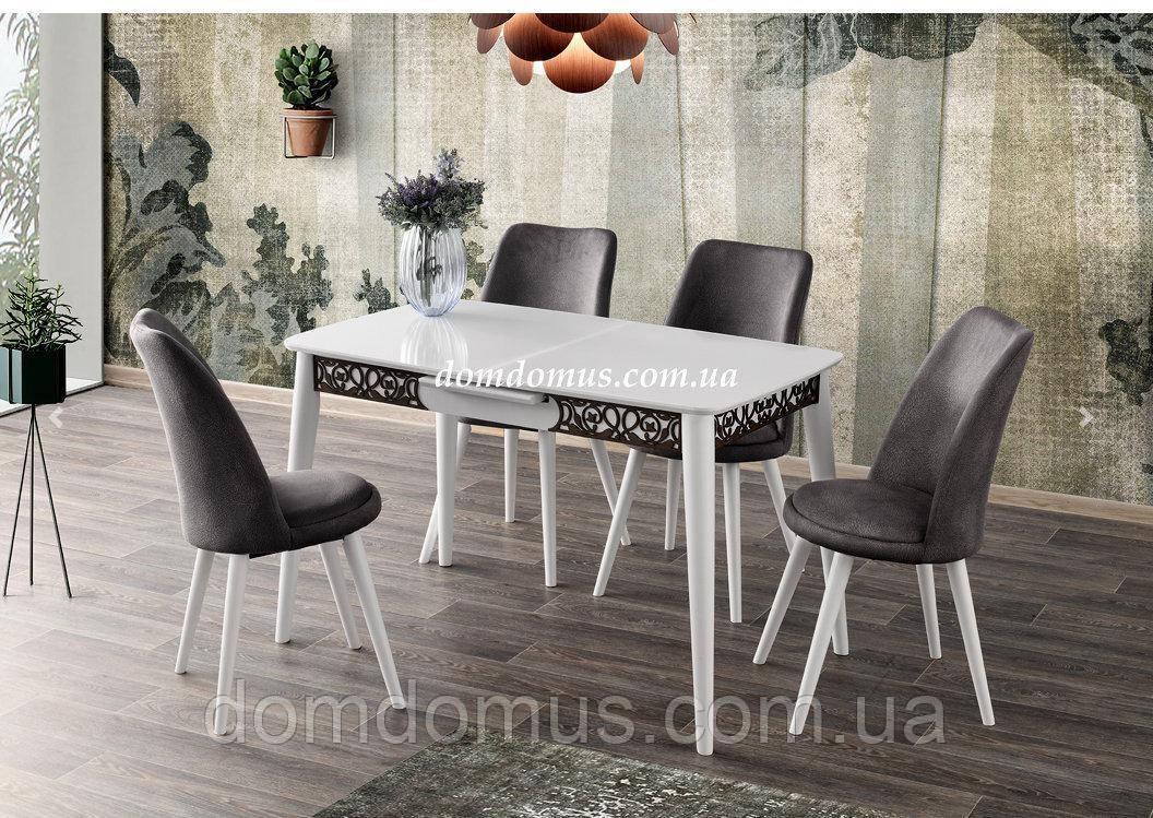 Комплект обідній набір меблів меблів - MILANO MOTIFLI masa / MELISA san. 120+30/70/75 - сто Mobilgen, Туреччина