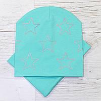 Демисезонная Звезды серебро Комплект шапка + баф мята 48-52р.