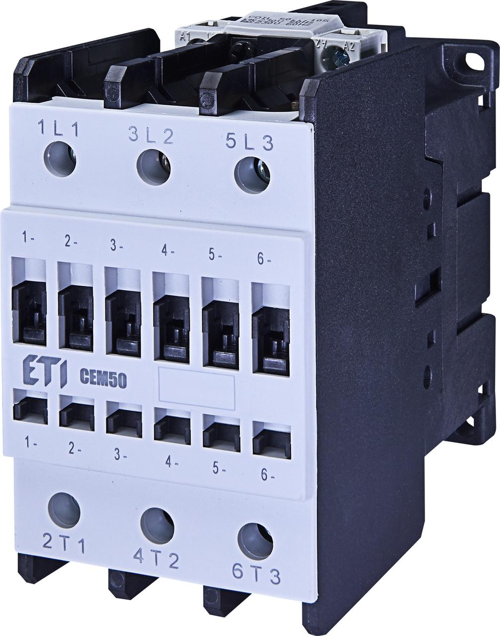 Контактор силовой ETI CEM 50.00 50А 230V AC 3NO 22kW 4648103 (на DIN-рейку, 80A AC1, 50A AC3)