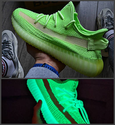 Мужские кроссовки в стиле Adidas Yeezy Boost 350 V2 Neon Green, фото 2