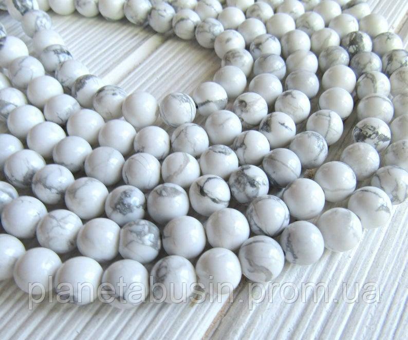 10 мм Кахолонг, Натуральный камень, Форма: Шар, Отверстие: 1 мм, кол-во: 47-48 шт/нить