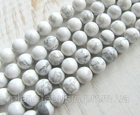 10 мм Кахолонг, Натуральный камень, Форма: Шар, Отверстие: 1 мм, кол-во: 47-48 шт/нить, фото 2