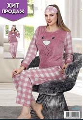 Женская пижамаYaprak с повязкой флисовая Турция