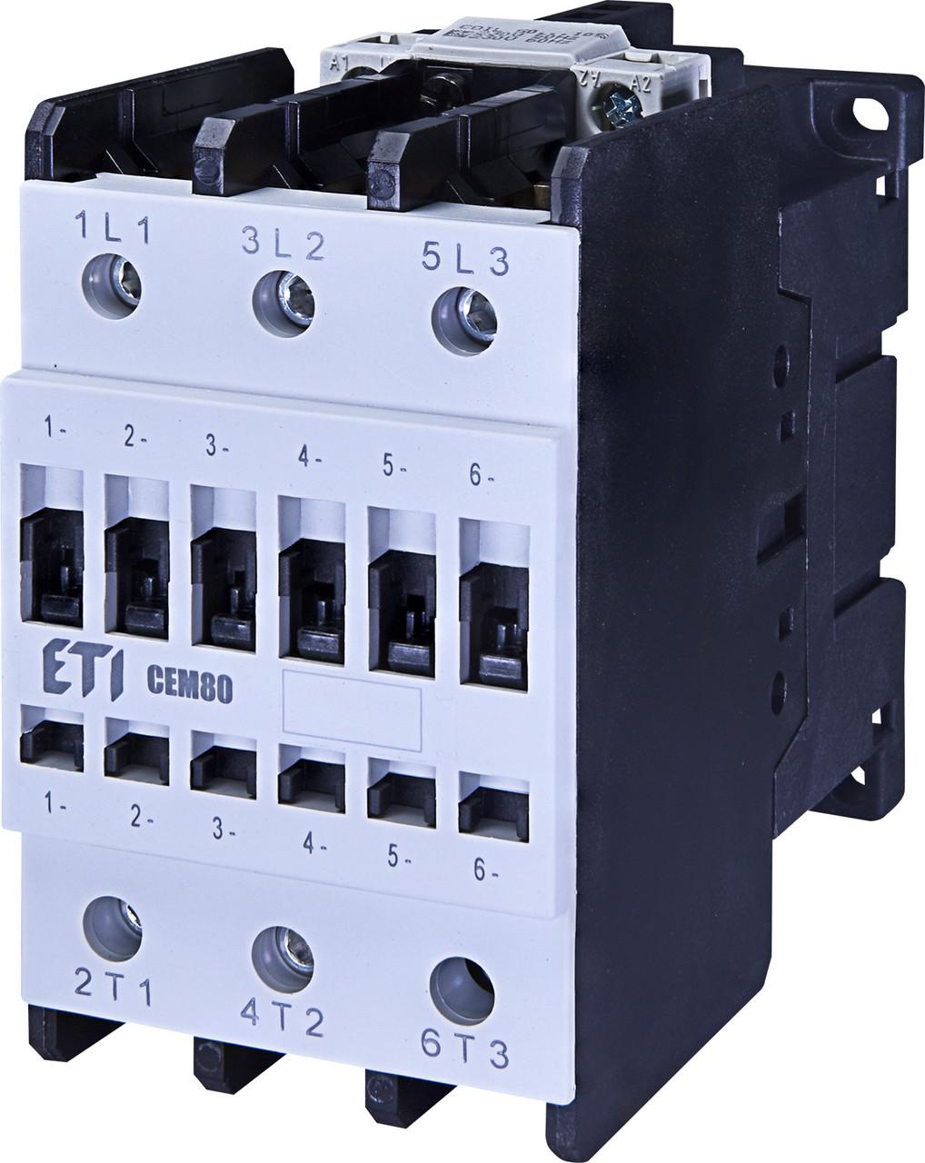 Контактор силовой ETI CEM 80.00 80А 230V AC 3NO 37kW 4650103 (на DIN-рейку, 110A AC1, 80A AC3)