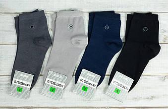 Носки чоловічі Montebello шкарпетки з бавовни однотонні з буквою М 40-45 12 шт в уп мікс із 4х кольорів