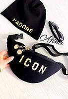 Женская стильная сумка бананка замш + эко кожа