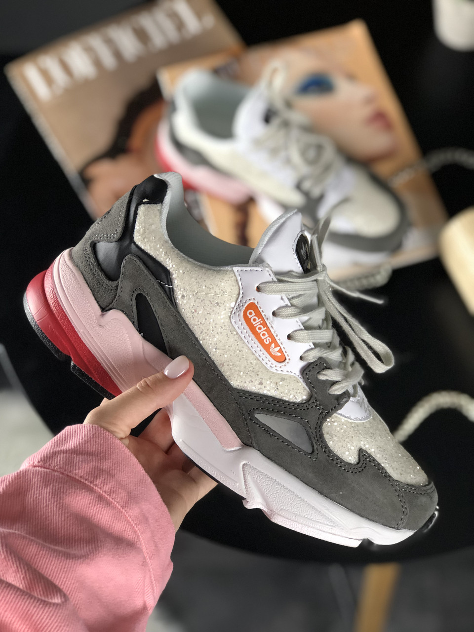 Кроссовки Adidas Falcon White Grey Black Pink