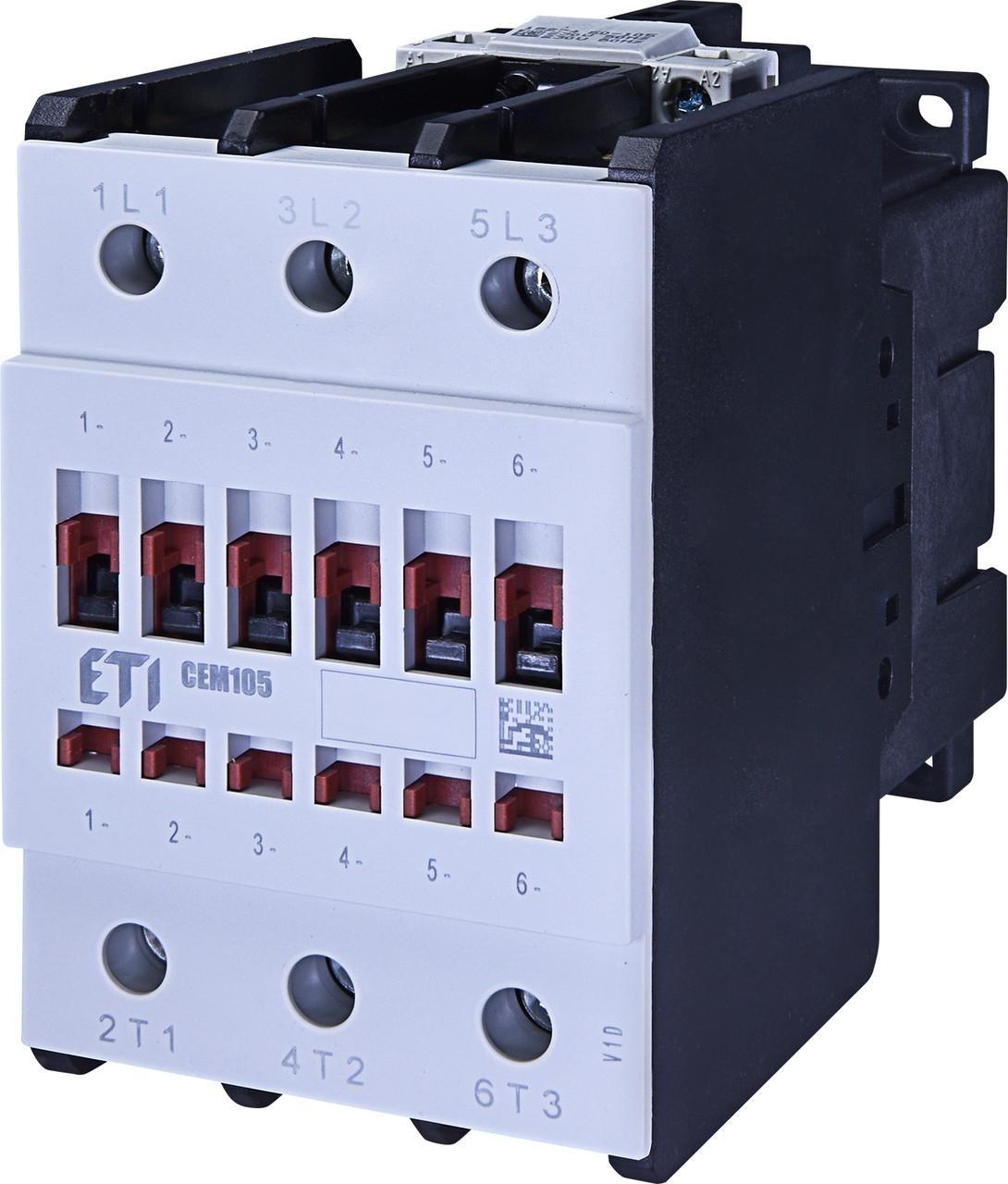 Контактор силовой ETI CEM 105.00 105А 230V AC 3NO 55kW 4652103 (на DIN-рейку, 140A AC1, 105A AC3)