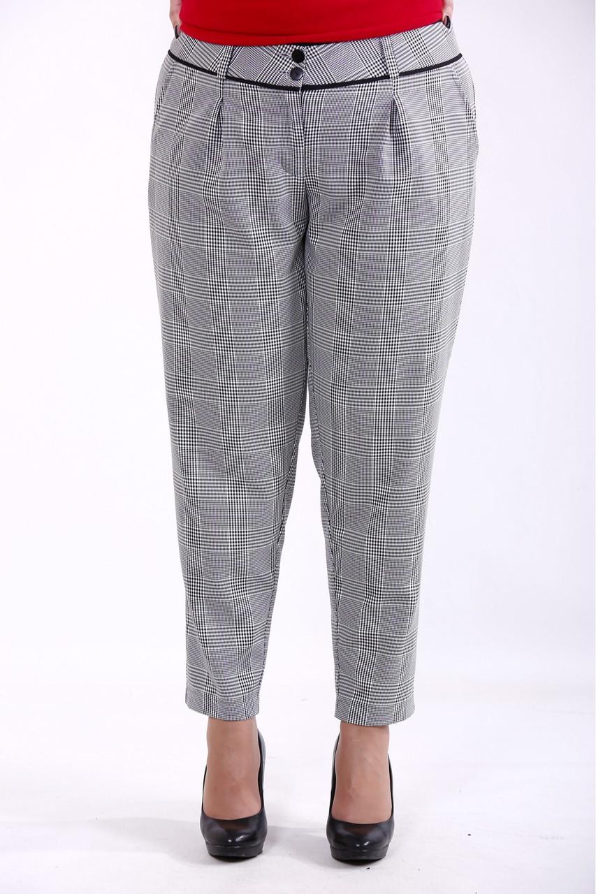 B068-1 | Клетчатые серые брюки женские большого размера