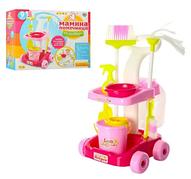 """Детский набор для уборки """"Мамина помощница"""" 667-33-35 : тележка на колесах, ведро, щетка, моющие средства"""