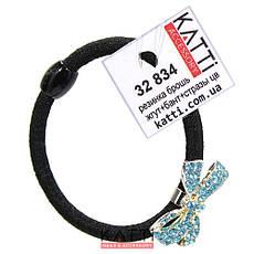 KATTi резинка для волос 32 834 жгут черная с цветной брошкой бантик, со стразами, фото 2