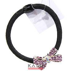 KATTi резинка для волос 32 834 жгут черная с цветной брошкой бантик, со стразами, фото 3