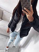 Курточка женская. Утепленная женская курточка черного цвета. Короткая стильная женская курточка на молнии.