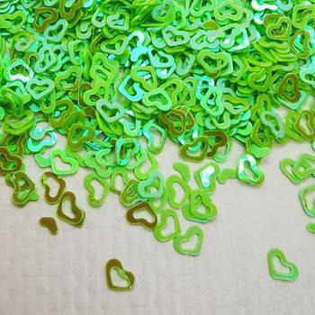 Глиттерные сердечки салатовые от 5г ;